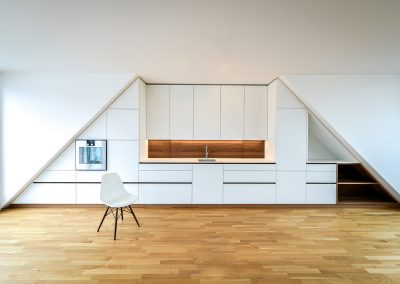 Kitchen in sloping roof